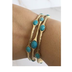 Jewelry - ⚡️2 for $20⚡️3 Matte Gold Tone/Turquoise Bangles